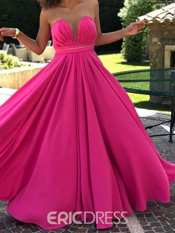 Ericdress V-Neck Sleeveless A-Line Floor-Length Prom Dress