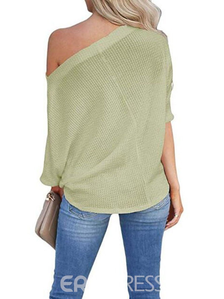 Ericdress Off-Shoulder Mid-Length Plain Loose Sweater