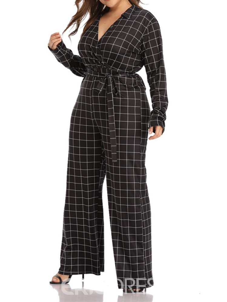 Ericdress Plus Size Plaid Full Length High Waist Straight Jumpsuit