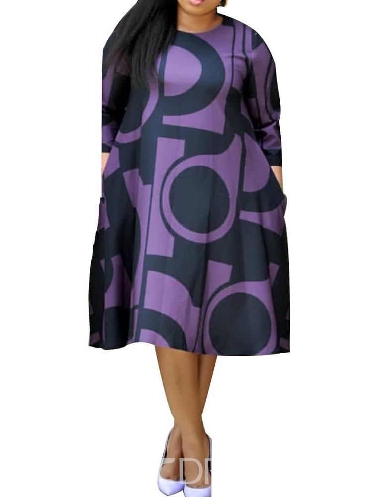 Ericdress Plus Size Pocket Color Block Round Neck Mid-Calf Geometric Dress