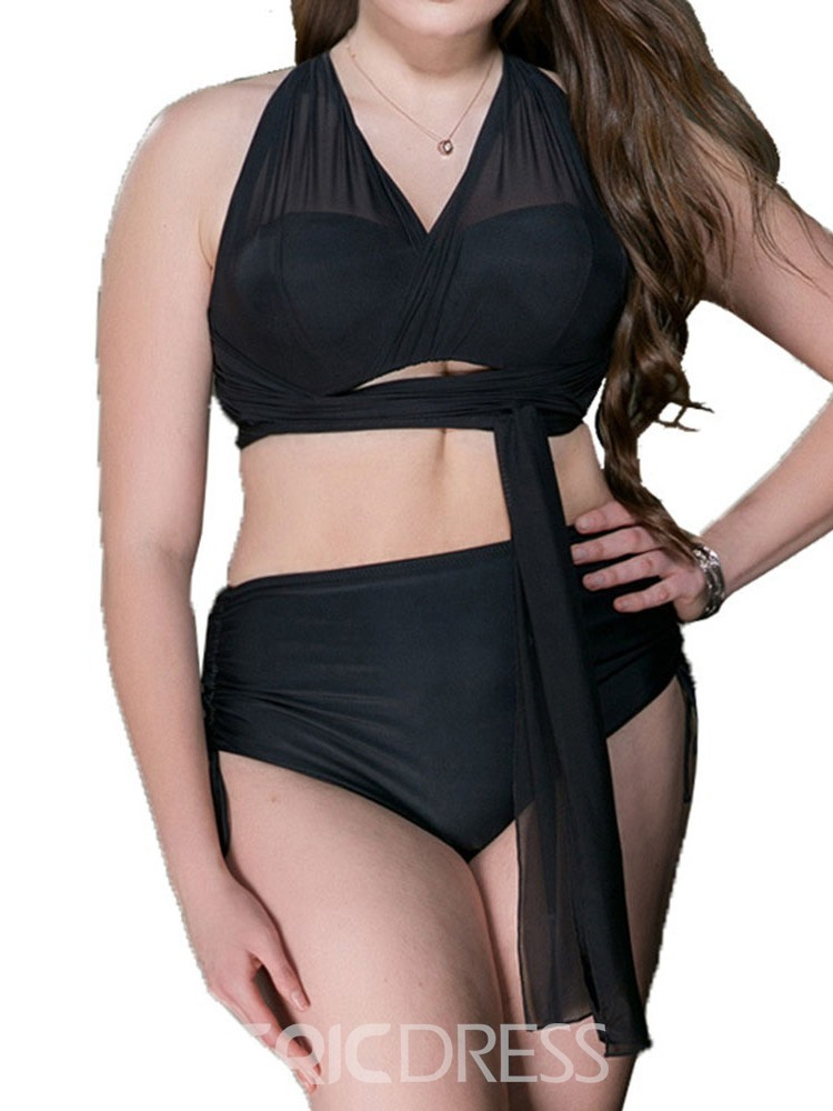 Ericdress Plus Size See-Through Lace-Up Sexy Swimsuit