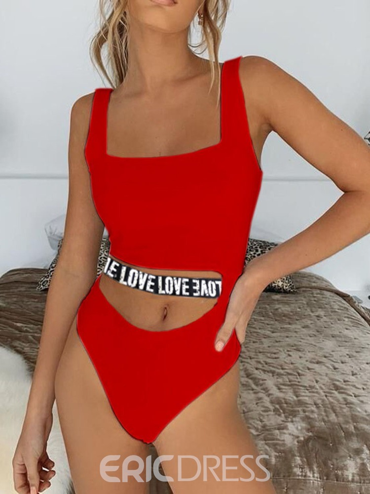 Ericdress One Piece Letter Print Color Block Sexy Swimwear