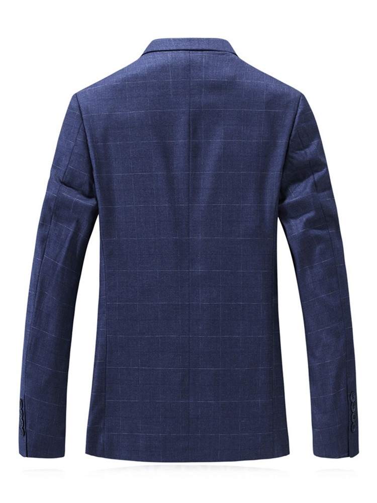 Ericdress Slim Plaid Notched Lapel Men's leisure Woolen Coat