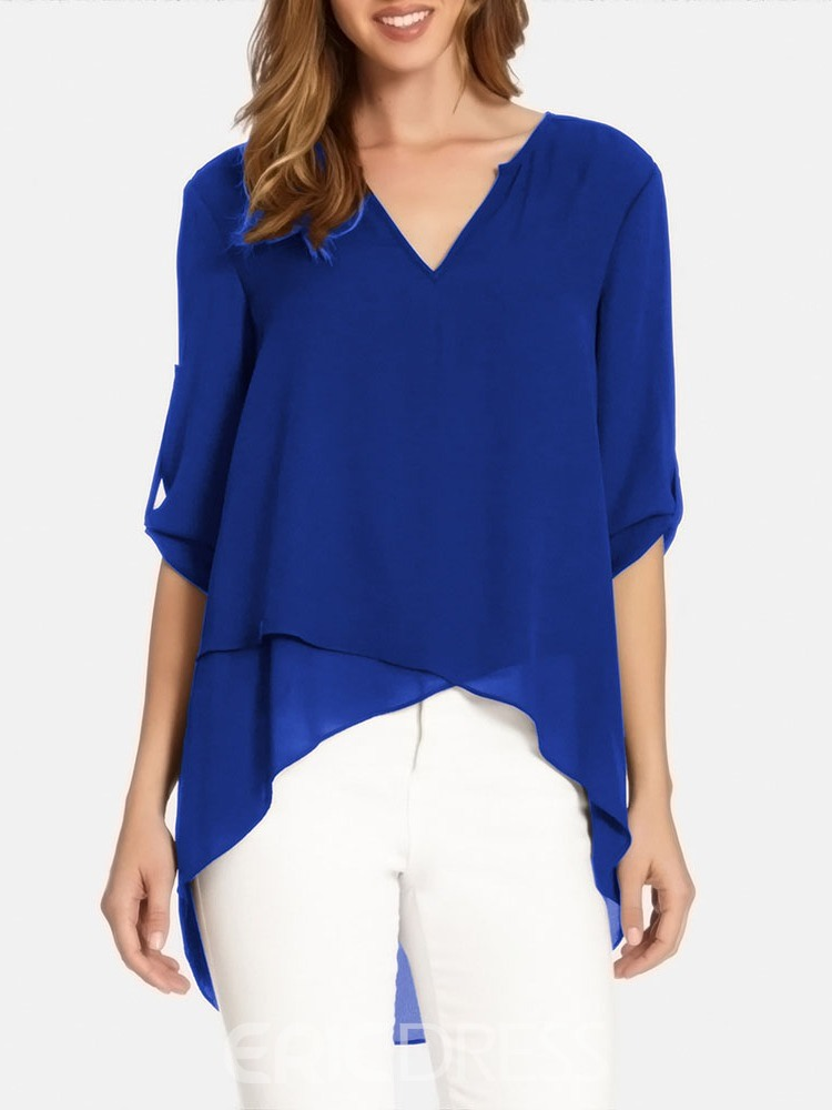 Ericdress V-Neck Asymmetric Plain Chiffon Short Sleeve Single Blouse