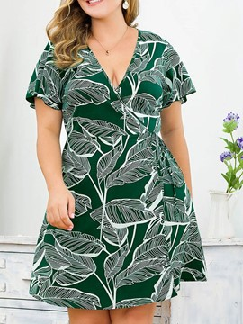 Ericdress Plus Size V-Neck Short Sleeve Print Lace-Up A-Line Casual Dress