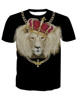 Ericdress Round Neck Fashion 3D Animal Men's Loose T-shirt