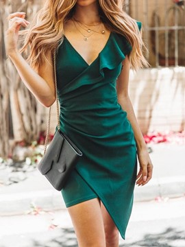 Ericdress Asymmetrical Cap Sleeve Above Knee V-Neck Single Dress