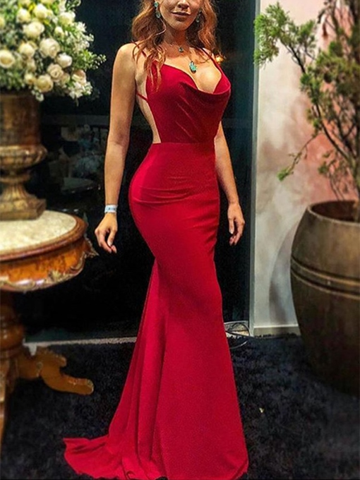 Ericdress Sweep Train Floor-Length Spaghetti Straps Trumpet Evening Dress