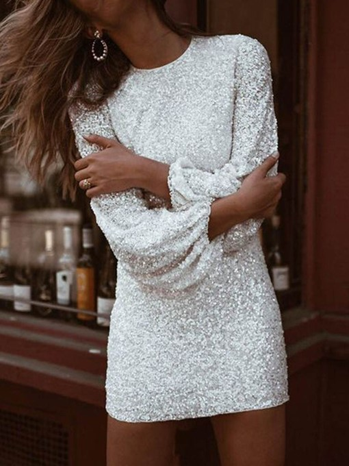 Ericdress Sequins Bodycon Above Knee Lantern Sleeve Party Dress