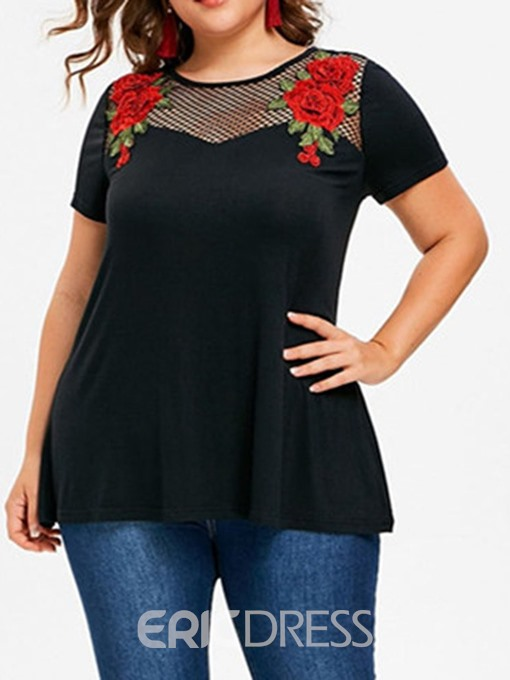 Ericdress Plus Size Patchwork Hollow Floral Short Sleeve Slim T-Shirt