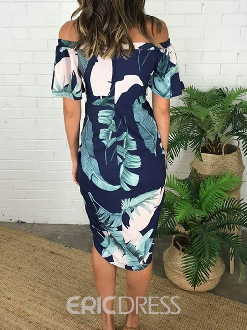 Ericdress Print Off Shoulder Short Sleeve Regular Asymmetrical Dress