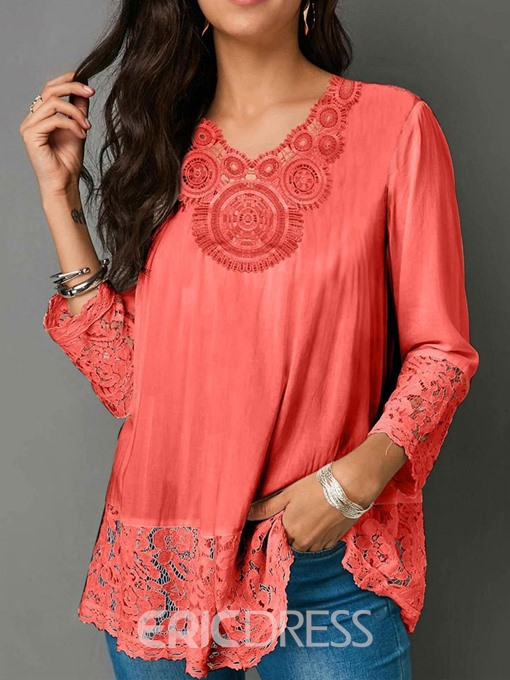 Ericdress Patchwork V-Neck Hollow Mid-Length Casual Blouse