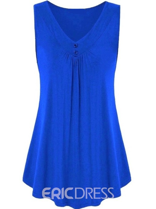 Ericdress Pleated Polyester Suspenders Sleeveless T-Shirt