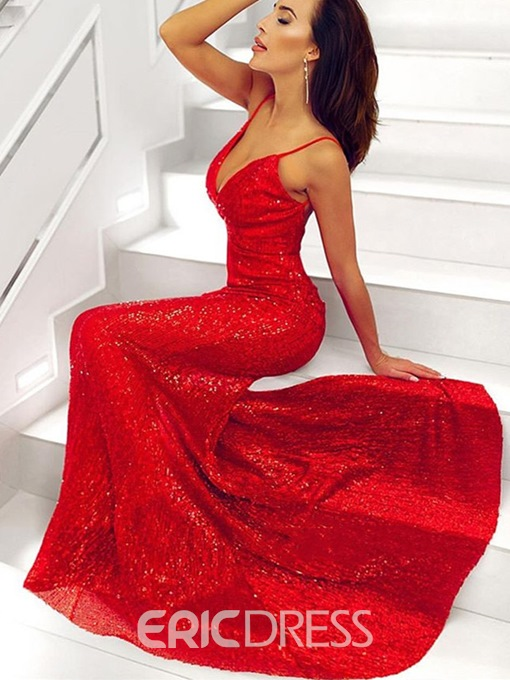 Ericdress Trumpet Floor-Length Sweep Train Sequins Evening Dress