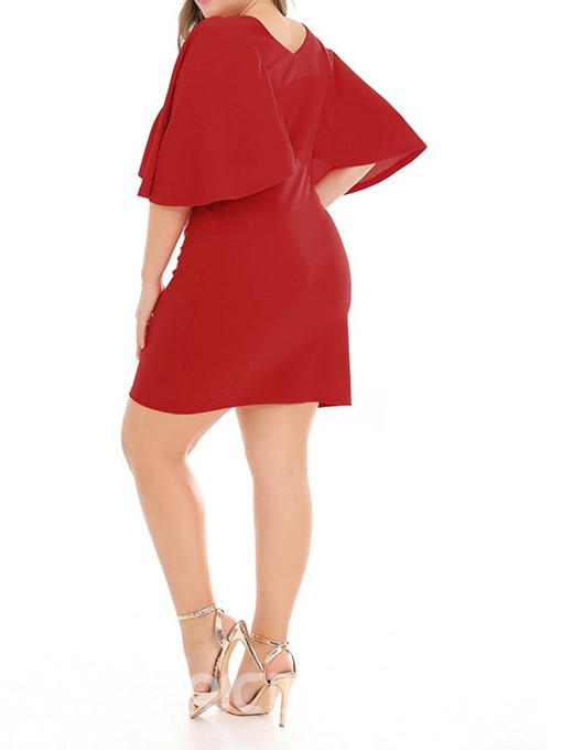 Ericdress Plus Size Round Neck Above Knee Batwing Sleeve Bodycon Single Dress