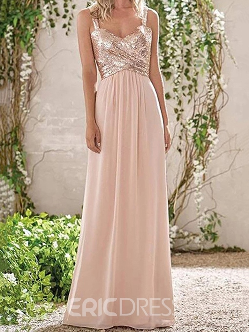 Ericdress Straps A-Line Long Bridesmaid Dress