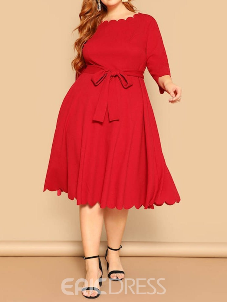 Ericdress Plus Size Three-Quarter Sleeve Wave Cut Mid-Calf Red Expansion Dress