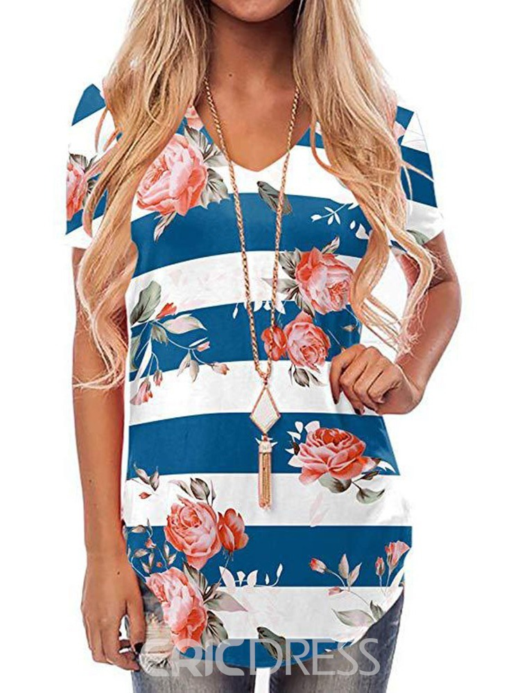 Ericdress Short Sleeve V-Neck Floral Mid-Length Loose T-Shirt