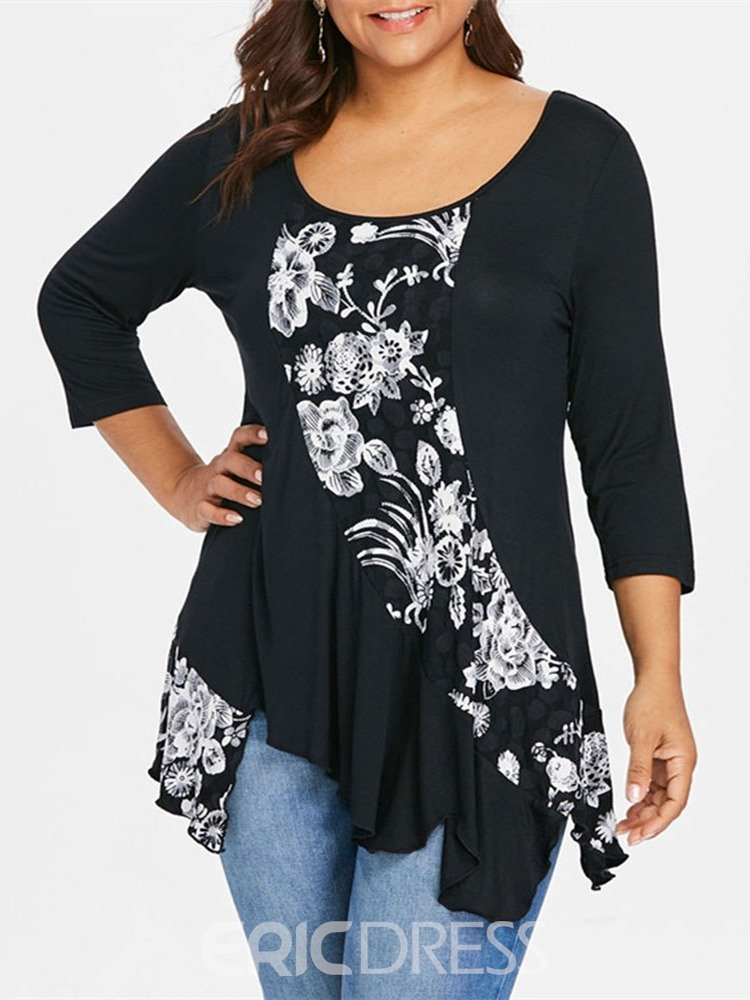 Ericdress Plus Size Patchwork Print Round Neck Casual T-Shirt