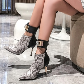 Ericdress Serpentine Back Zip Stiletto Heel Women's Ankle Boots