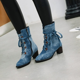 Ericdress Denim Round Toe Chunky Heel Side Zipper Women's Ankle Boots