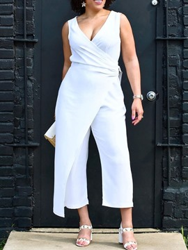 Ericdress Asymmetrical Plain Mid-Calf High Waist Patchwork White Jumpsuit