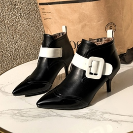Ericdress PU Color Block Pointed Toe Stiletto Heel Women's Ankle Boots