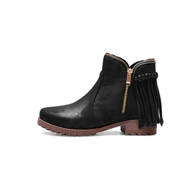 Ericdress Plain Round Toe Block Heel Side Zipper Women's Flat Boots