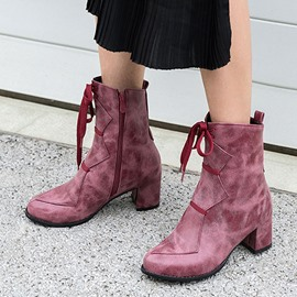 Ericdress PU Round Toe Side Zipper Chunky Heel Women's Ankle Boots