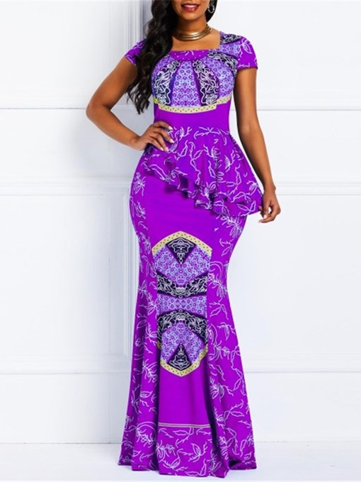 Ericdress African Fashion Falbala Square Neck Short Sleeve Geometric Mermaid Dress