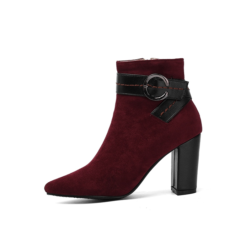 Ericdress Patchwork Pointed Toe Chunky Heel Side Zipper Women's Ankle Boots