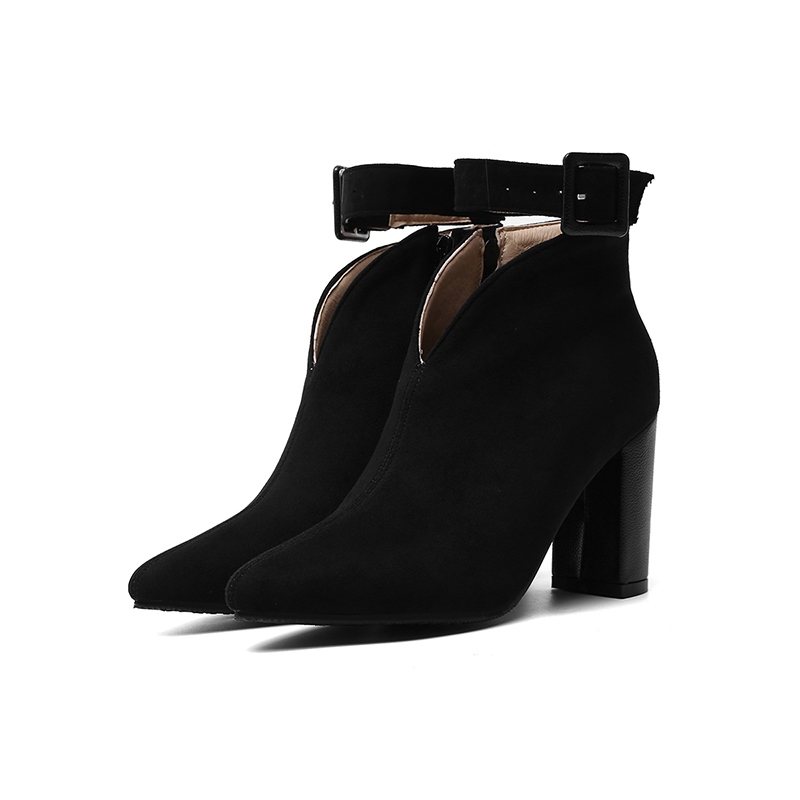 Ericdress PU Chunky Heel Pointed Toe Women's Ankle Boots