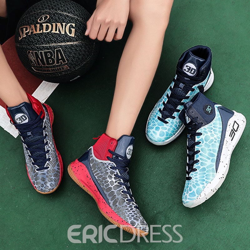 Ericdress Mesh Patchwork Lace-Up Round Toe Men's Chic Sneakers
