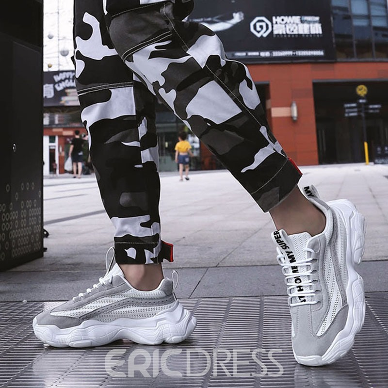 Ericdress Lace-Up Patchwork Men's Chic Sneakers