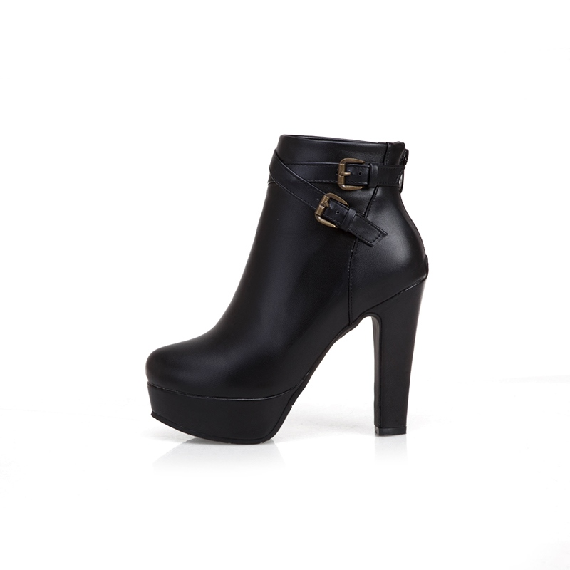 Ericdress Plain Zipper Chunky Heel Round Toe Women's Ankle Boots