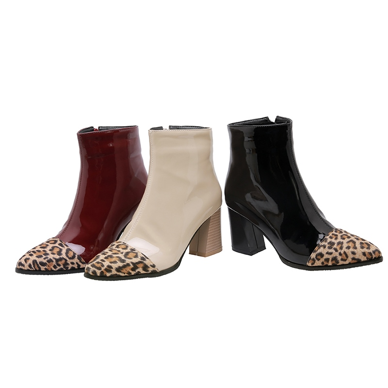 Ericdress Color Block Side Zipper Pointed Toe Chunky Heel Women's Ankle Boots