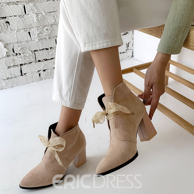 Ericdress Plain Lace-Up Front Chunky Heel Women's Ankle Boots