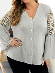 Ericdress Plus Size V-Neck Patchwork Lace Flare Sleeve Button Blouse фото