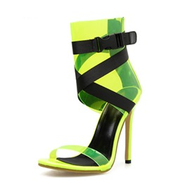 Ericdress PVC Stiletto Heel Heel Covering Zipper Color Block Women's Sandals
