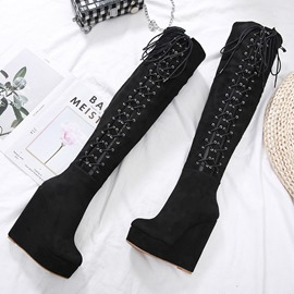 Ericdress Plain Back Zip Round Toe Hollow Women's Knee High Boots