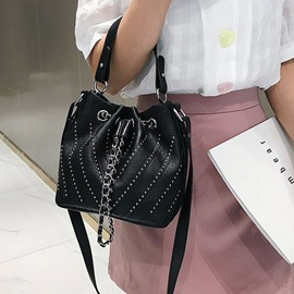 Ericdress Fashion Plain Rivet Crossbody Bag