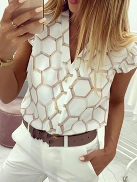 Ericdress Button V-Neck Geometric Standard Sleeveless Blouse