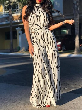 Ericdress Print Full Length Sleeveless Mid Waist Wide Legs Jumpsuit