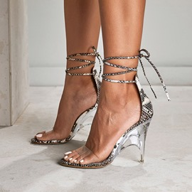 Ericdress Serpentine Lace-Up Heel Covering Stiletto Heel Women's Sandals