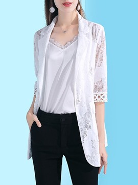Ericdress Lace Half Sleeve One Button Notched Lapel Regular Mid-Length OL Blazer