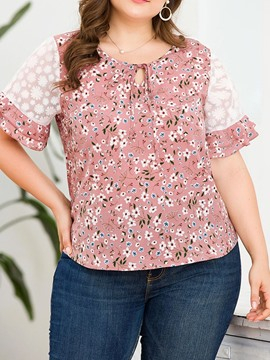 Ericdress Plus Size Floral Round Neck Short Sleeve Fashion Blouse