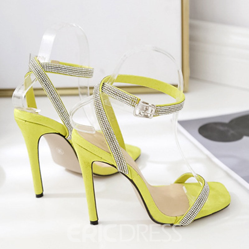Ericdress Rhinestone Ankle Strap Open Toe Stiletto Heel Women's Sandals