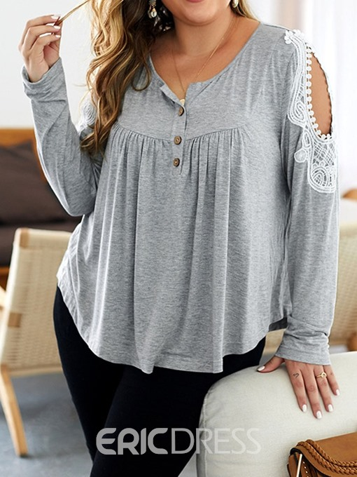 Ericdress Plus Size Hollow Button Pleated Casual T-Shirt