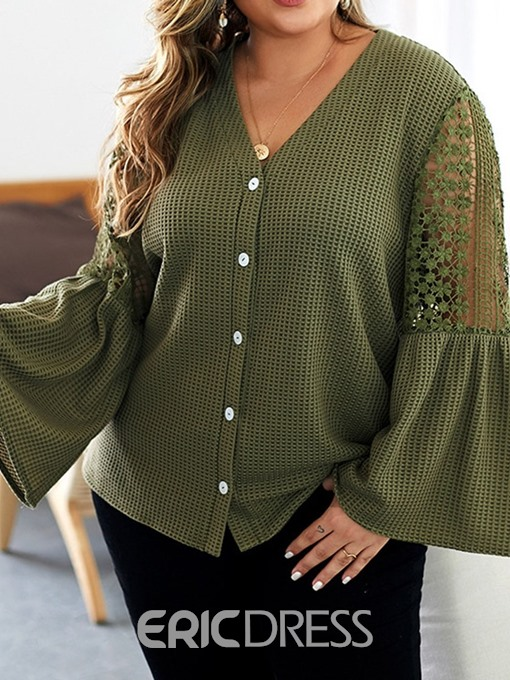Ericdress Plus Size V-Neck Patchwork Lace Flare Sleeve Button Blouse