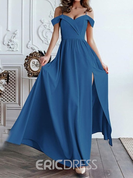 Ericdress Split Short Sleeve Floor-Length A-Line Elegant Maxi Dress